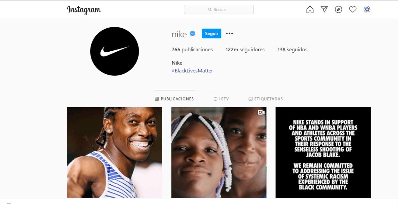 Nike hace un brillante trabajo en Instagram