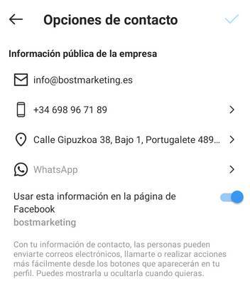 Añadir botón de contacto en Instagram