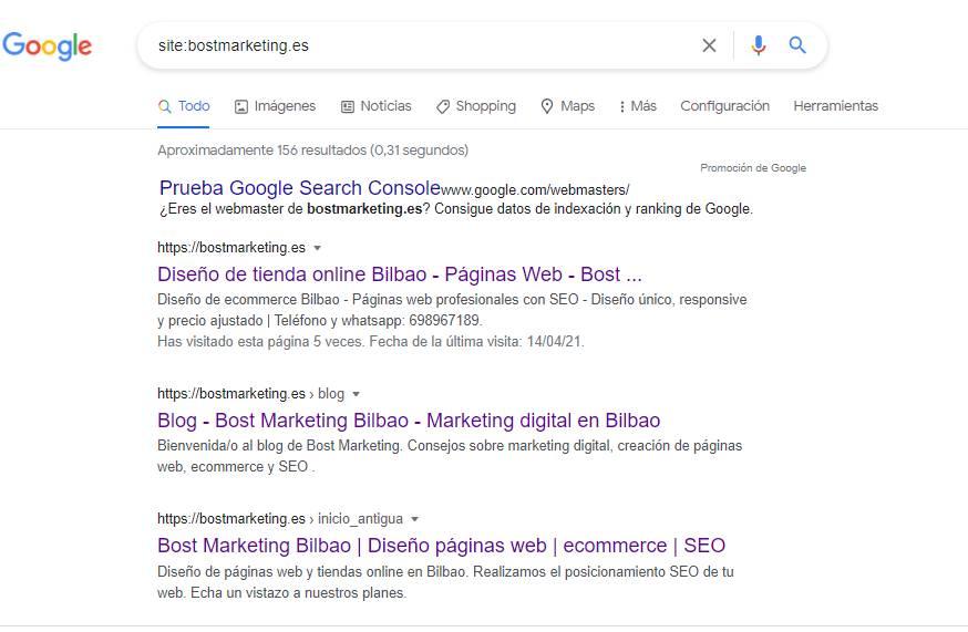 Comprobar si Google ha indexado bien las páginas de nuestra web.
